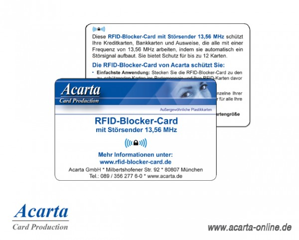 RFID-Blocker-Card Störsenderkarte, Acarta Layout