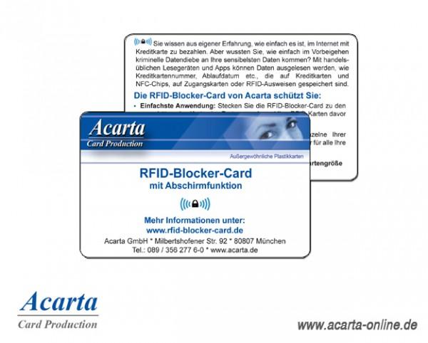 RFID-Blocker-Card mit Abschirmfunktion, Acarta Layout, ab 1 Stück